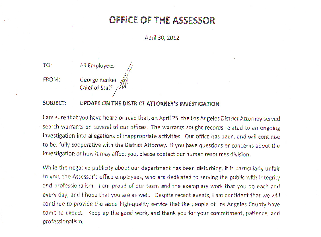 "Noguez Chief of Staff calls 'negative publicity disturbing"" in first memo to Assessor employees after raids"