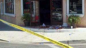 Blood soaked entrance outside Marquez Restaurant