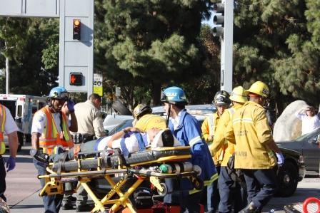 Injured victim of the crash near Cerritos High School