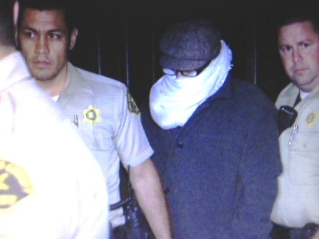NBC4 captured this photo of Nakoula Besseley Nakoula as he was taken in for an interview with federal probation officers to the Cerritos Sheriff's Station