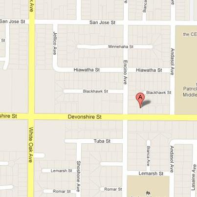 Location of shooting in Northridge